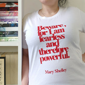 Feminist T Shirt 'Beware; For I Am Fearless' in Red and White