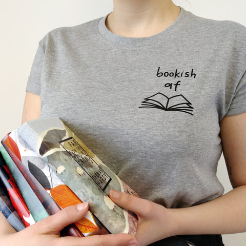 "Grey ""Bookish AF"" Relatable Literary T Shirt"