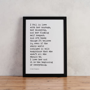 """I fell in love"" Typewriter Print - TYPE4"