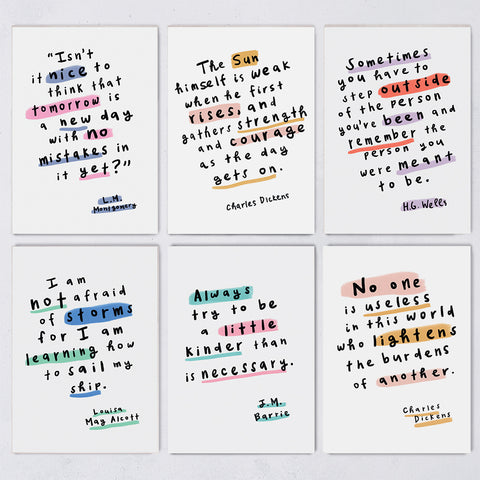 Book Lover Encouraging Quotes - 12 Postcards Set - PC7