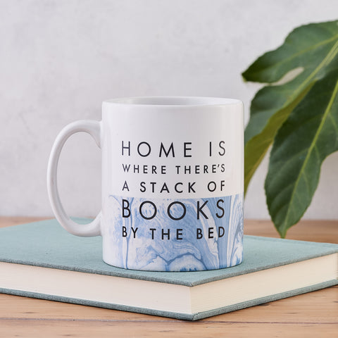 "Literary Mug - ""A Stack Of Books"" - Marble Design"