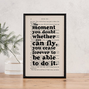 "Peter Pan - ""The Moment You Doubt Whether You Can Fly - Book Page - BOOK 130"