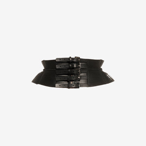 B11 Black leather belt - 0770shop