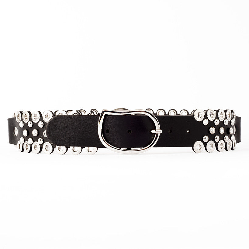 B51 Swarovski crystal, eyelet and silver metal studs embellished black leather belt - 0770shop
