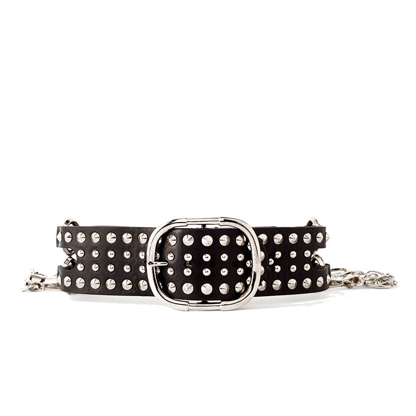 B56 studded laser cut black leather belt - 0770shop