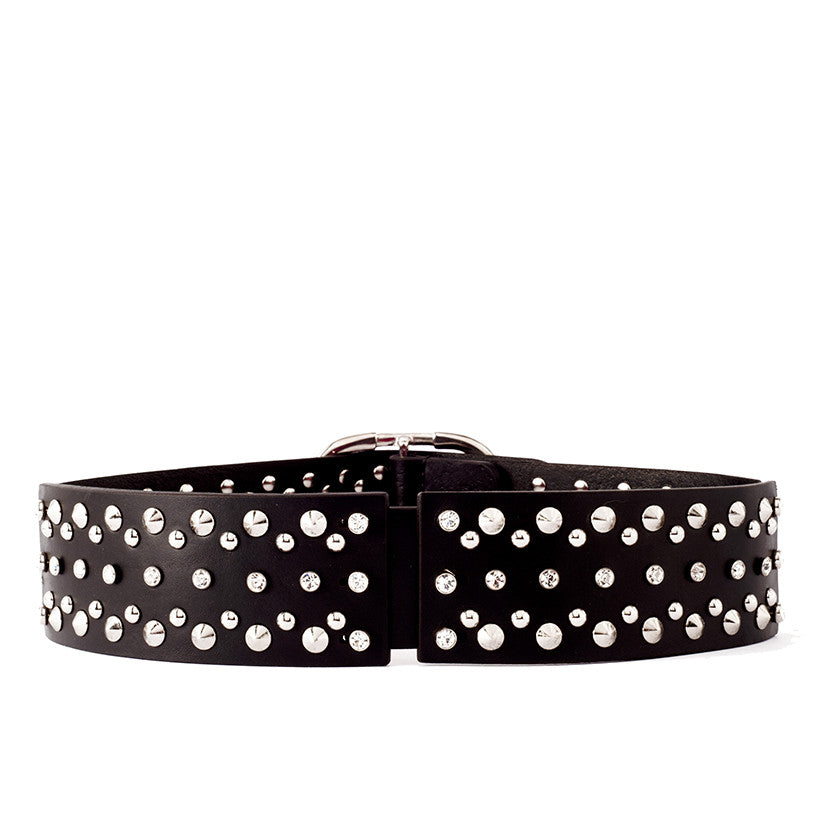 B58 Swarovski crystal and silver metal studs-embellished black leather belt - 0770shop