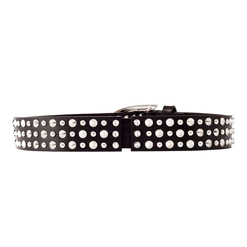 B59 Swarovski crystal and silver metal studs embellished black leather belt - 0770shop