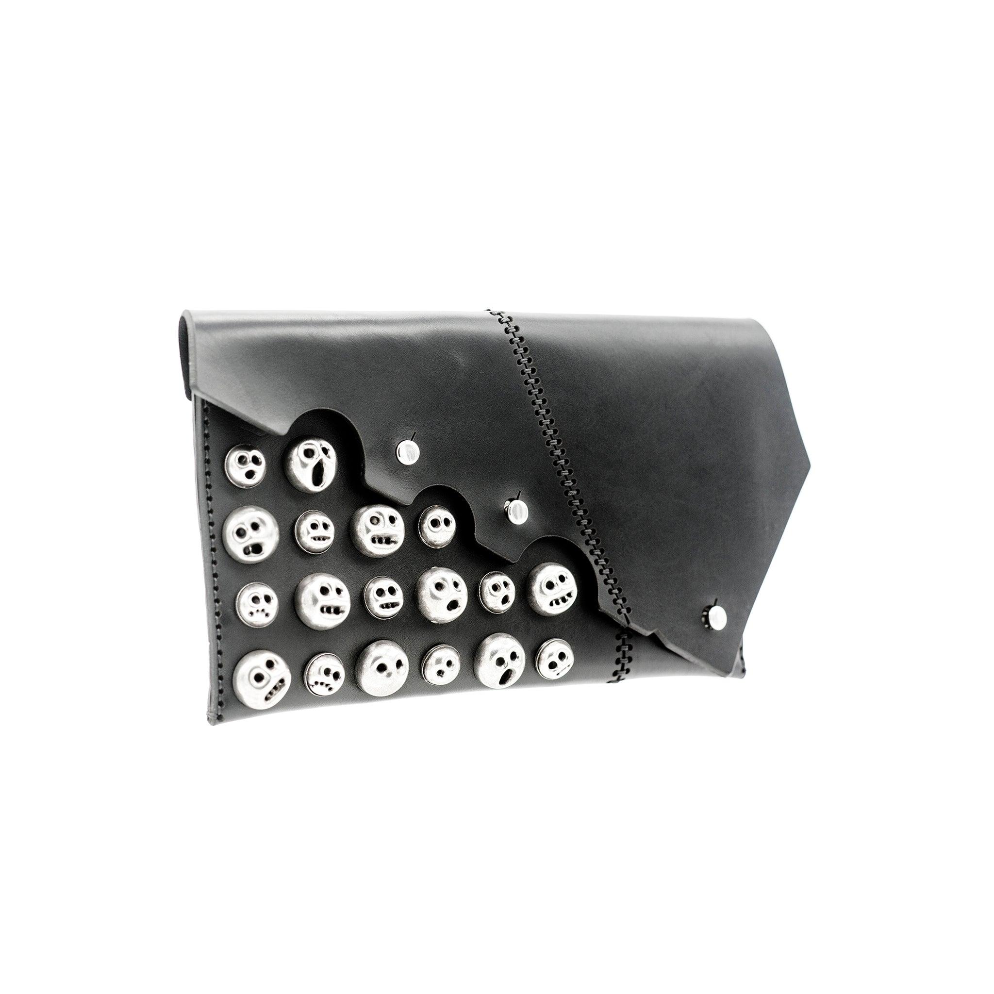 ARES LASER CUT EMBELLISHED LEATHER MUNK CLUTCH - 0770shop
