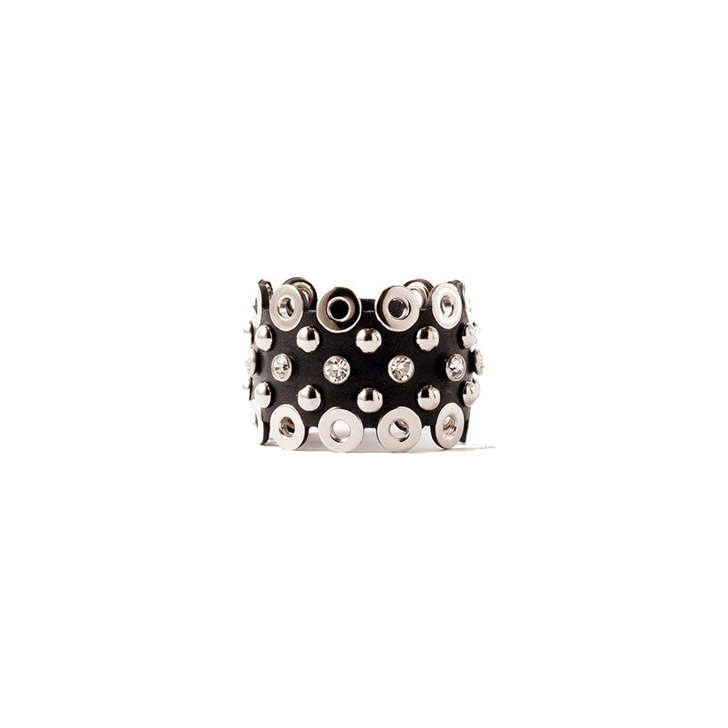 C43 Swarovski crystal, silver metal stud and eyelet embellished lasered leather bracelet - 0770shop