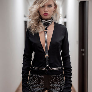 B52 Swarovski crystal-embellished black leather harness-belt - 0770shop