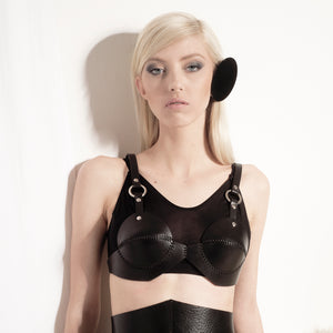 BR01 Black leather bra - 0770shop