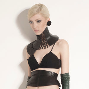 N03 Black leather neckpiece - 0770shop