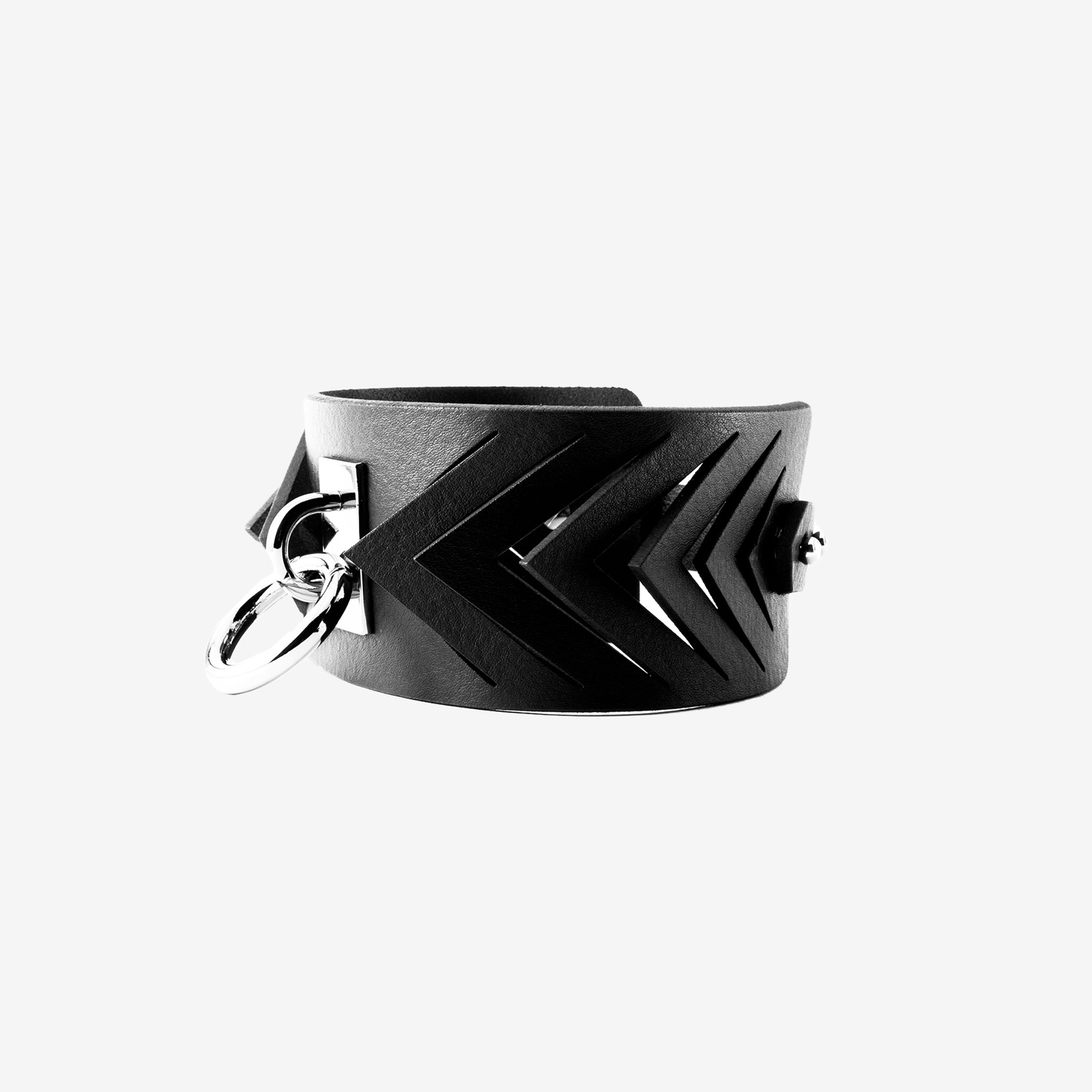 N09 Leather ring choker - 0770shop