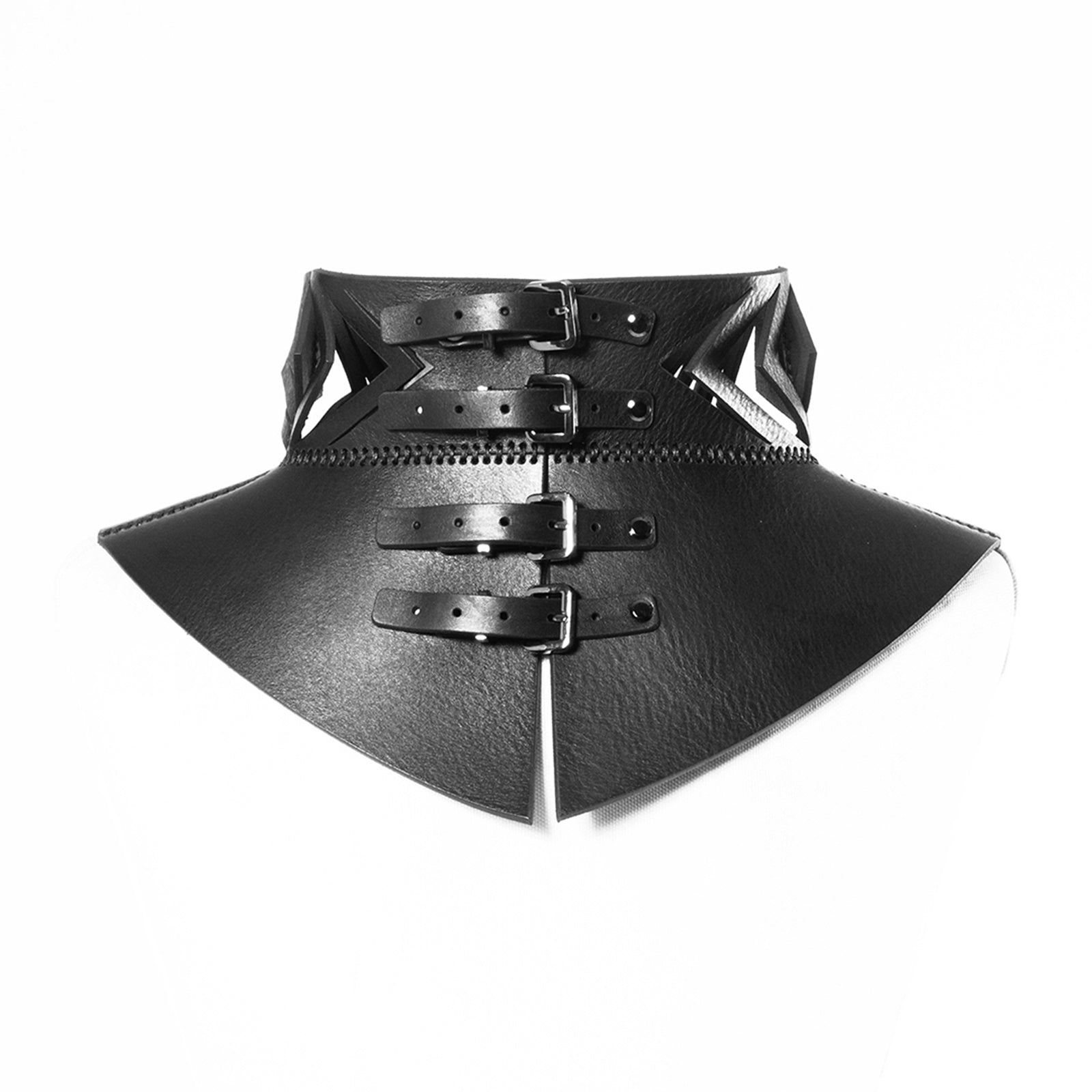 N16 Black leather neckpiece - 0770shop