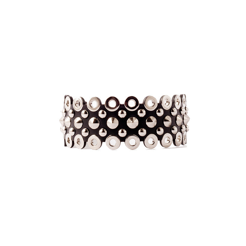 N35 Silver metal studs and eyelet embellished black leather necklace - 0770shop