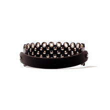 N35 Silver metal studs and eyelet embellished black leather necklace