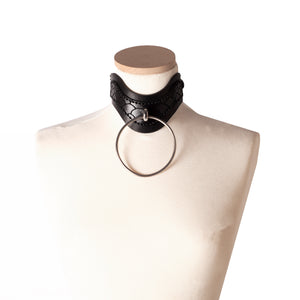 N36 Leather Ring Choker Collar - 0770shop