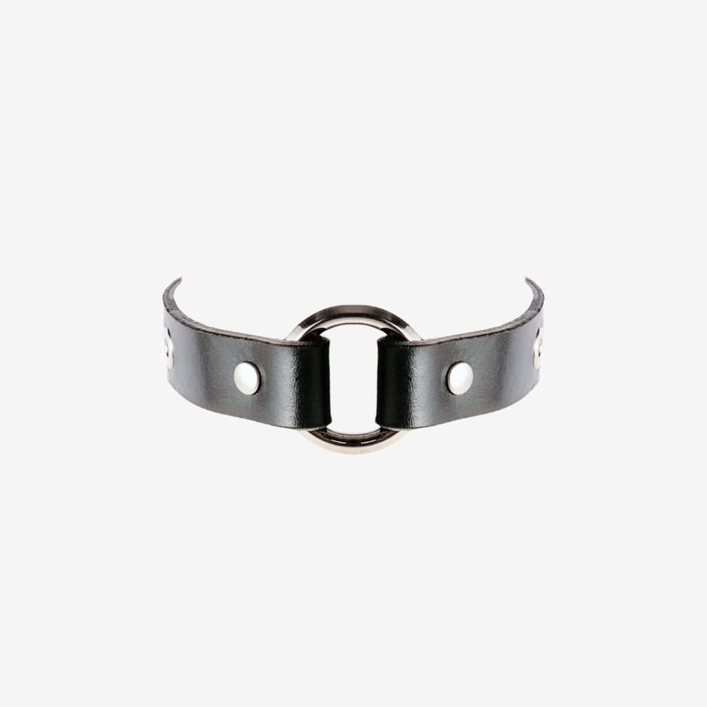 N50 Leather Ring Choker Collar - 0770shop