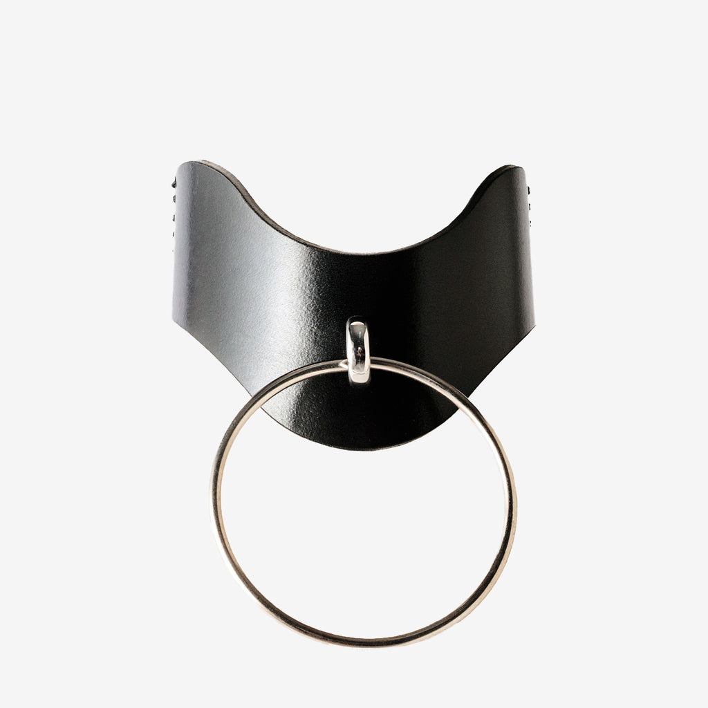 N54 Leather Ring Choker Collar - 0770shop