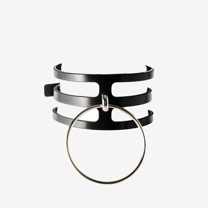N55 Leather Ring Choker Collar