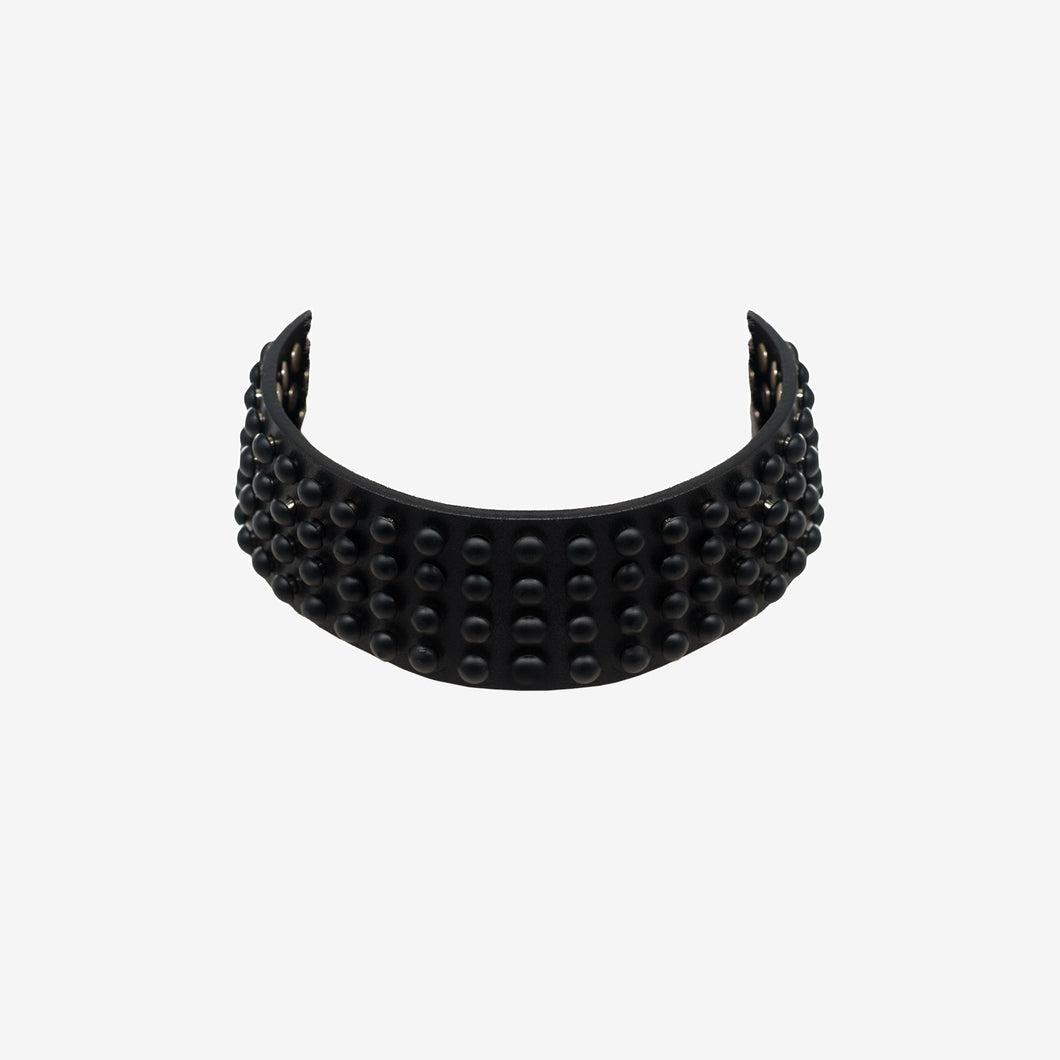 0770 Giunone black studded leather choker collar