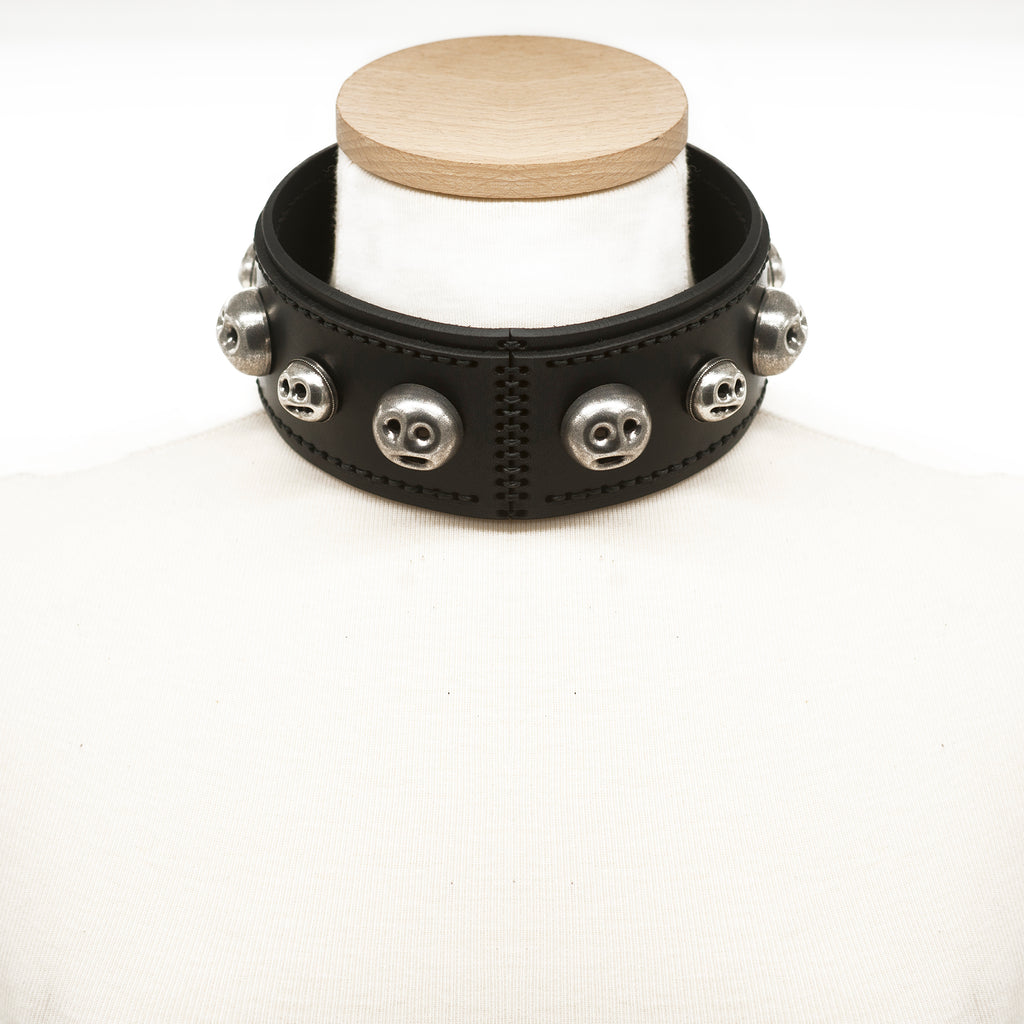 ILIZIA LASER CUT EMBELLISHED LEATHER MUNK CHOKER COLLAR - 0770shop