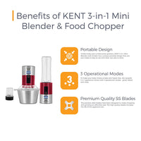 KENT 3-in-1 Mini Blender and Food Chopper