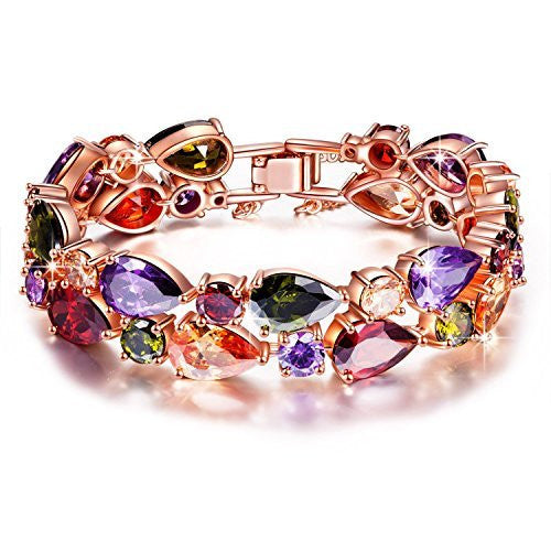 Yutti Sparkling Colors Flowerets Swiss Cz 18K Rose Gold Plated Bracelet For Women