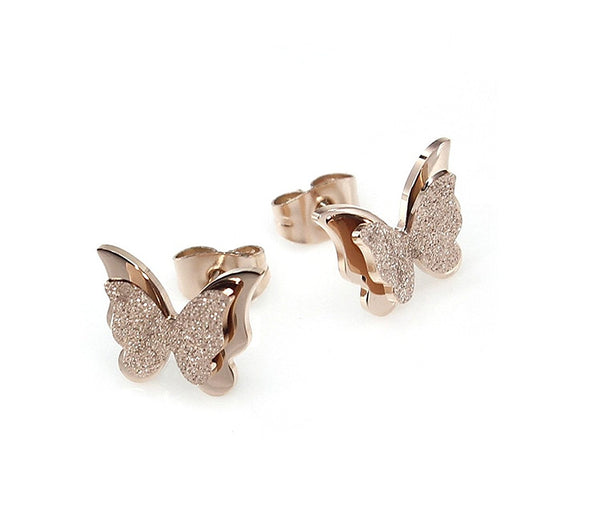 Yutii Charming Dual Butterfly Surgical Steel Rose Gold Stud Earrings for Women