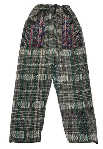 Guatemalan Corte Style Pants with Huipil Pockets - Teal Green