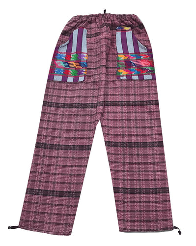 Guatemalan Corte Style Pants with Huipil Pockets - Pink & Black