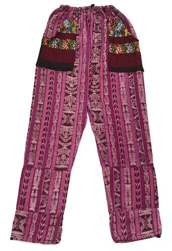 Guatemalan Corte Style Pants with Huipil Pockets - Fuschia