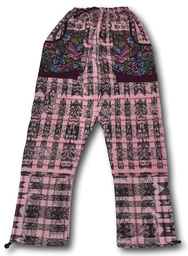 Guatemalan Corte Style Pants with Huipil Pockets - Rose Pink