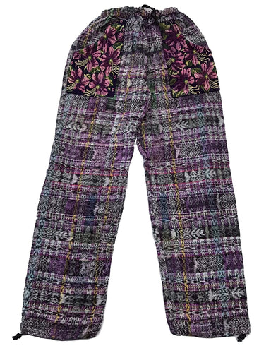 Guatemalan Corte Style Pants with Huipil Pockets - Multicolored Purple
