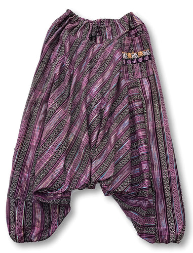 Guatemalan Harem Style Pants with Huipil Pocket - Pink & Black - Fair Trade Gypsy