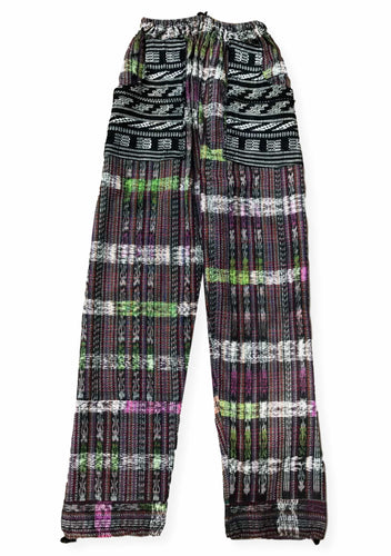 Guatemalan Corte Style Pants with Huipil Pockets - Black & Multicolored