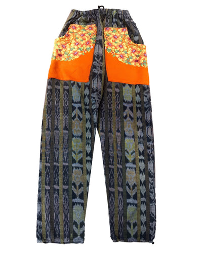 Guatemalan Corte Style Pants with Huipil Pockets - Orange - Fair Trade Gypsy