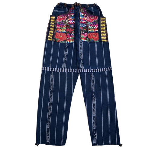 Guatemalan Corte Style Pants with Huipil Pockets - Navy - Fair Trade Gypsy