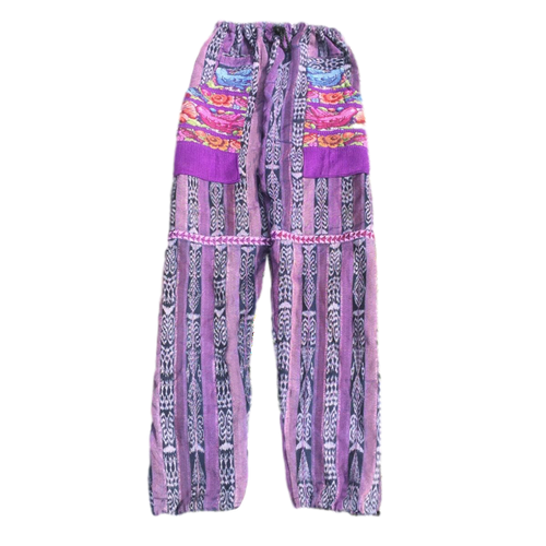 Guatemalan Corte Pants with Huipil Pockets - Purple Birds - Fair Trade Gypsy