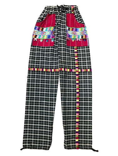 Guatemalan Corte Style Pants with Huipil Pockets - Black Stripes