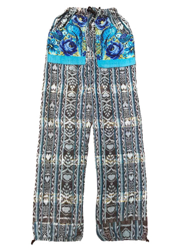 Guatemalan Corte Style Pants with Huipil Pockets - Blue