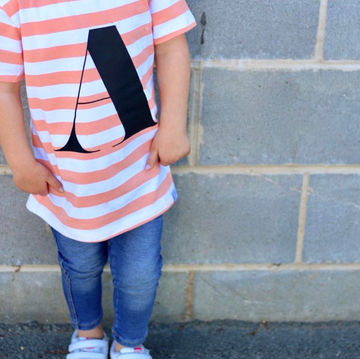 Peach stripe Alphabet T-Shirt - Kids