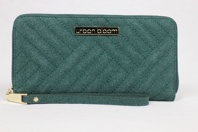 The ultimate kale green suede wristlet