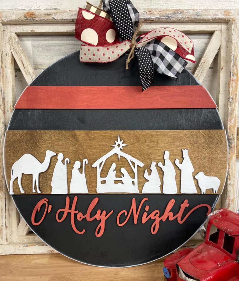PAINTED - Oh Holy Night Round Hanger - PREORDER