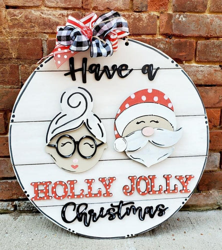 PAINTED - Holly Jolly Santa & Mrs. Claus - PREORDER