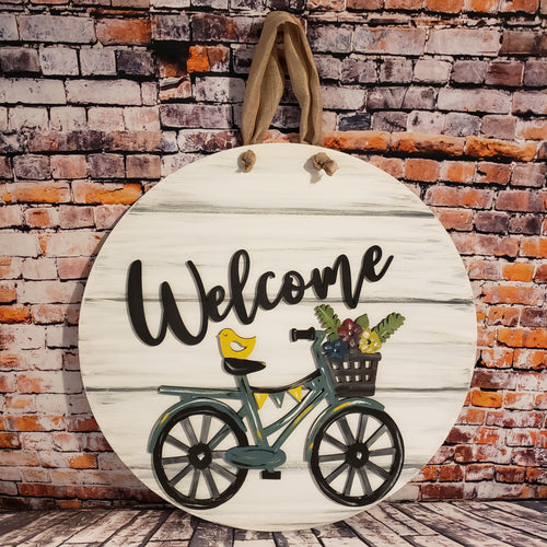 Painted Welcome Bicycle Sign