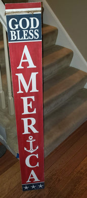 DIY-Porch Leaner God Bless America Single Sided Sign