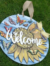 Painted Sunflower & Butterfly Sign