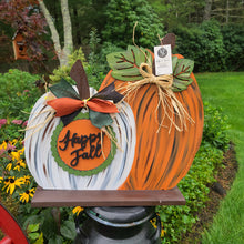 PAINTED - Stand up Happy Fall Pumpkin
