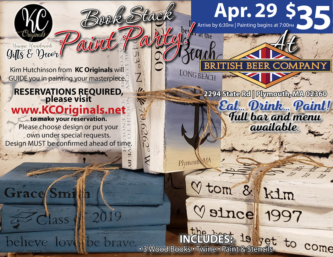 BBC Cedarville- Book Stack Paint Party - DEPOSIT $15 balance will be due night of party